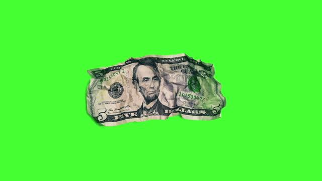 vidéos et rushes de avant de billet de 5 dollars sur chroma key - chiffre 5