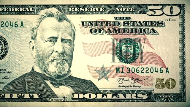 vídeos y material grabado en eventos de stock de frente de $50 dólares moneda factura de los estados unidos de américa - ulysses s grant