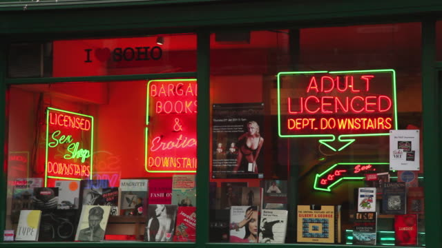 stockvideo's en b-roll-footage met cu front of adult sex shop and book store in soho london / london, greater london, uk - greater london