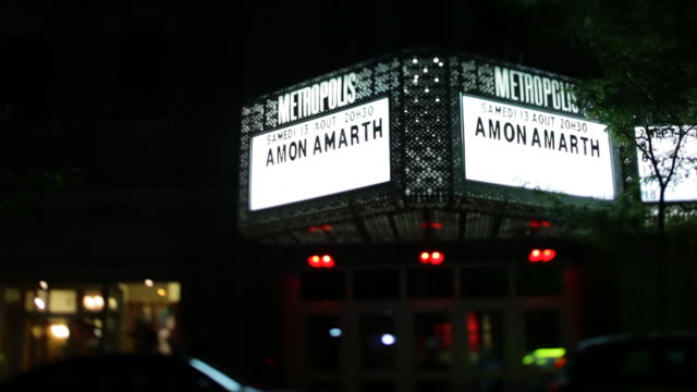 front of metropolis theater / theater showcases death metal band amon amarth no - theatrical performance stock videos & royalty-free footage