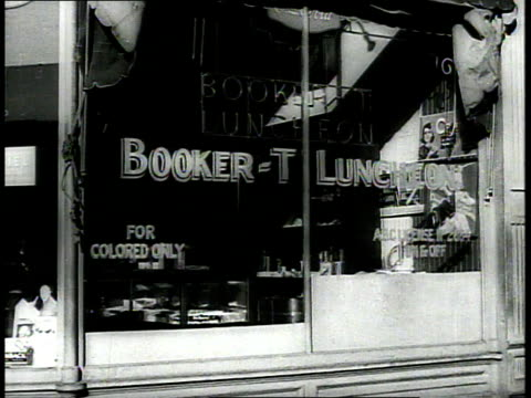 stockvideo's en b-roll-footage met ws front of restaurant with window sign reading for colored only / richmond virginia usa - winkelbord