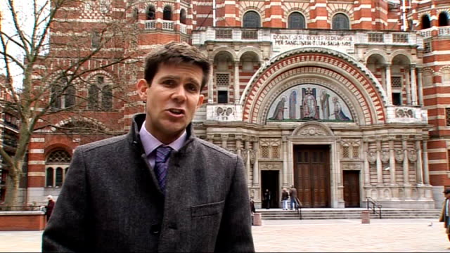 front of westminster cathedral reporter to camera - westminster cathedral stock videos & royalty-free footage