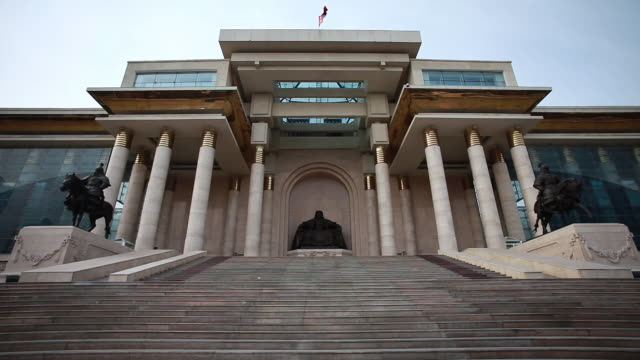 ms front part of parliament building / ulaanbaatar, mongolia, mongolia - russian culture stock videos & royalty-free footage