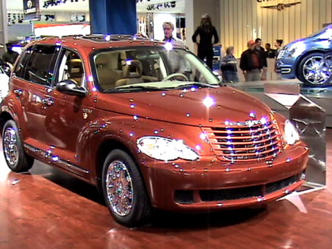 front passenger side three-quarter view of chrysler pt cruiser street cruiser sunset boulevard edition / fender emblem---footage is 4:3 anamorphic.... - three quarter length stock videos & royalty-free footage