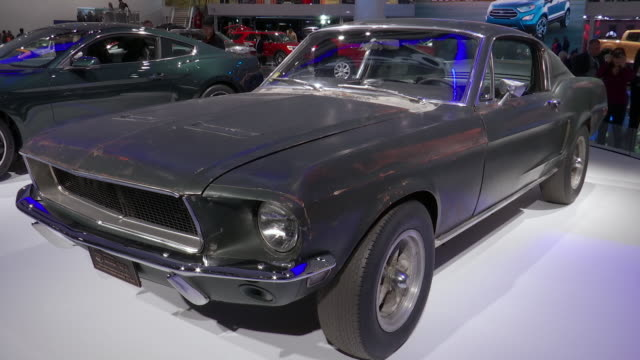 out ws front quarter driver side pov of 1968 mustang / cu historic vehicle license plate zo ws front end of 68 mustang / ms ha looking down on 68... - ford mustang stock videos and b-roll footage