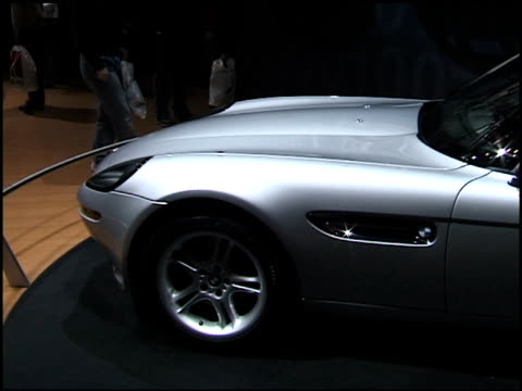 stockvideo's en b-roll-footage met front quarter passenger side view of z8 sports car; driver side profile of front end; right from front to rear end; wall sign; from type on wall to... - chassis