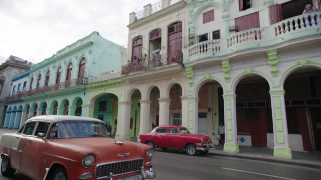 3/4 front right process havana, cuba city streets - cuba stock videos & royalty-free footage