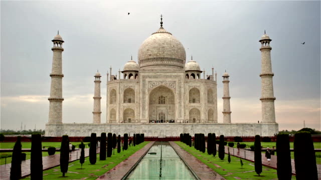 front shot of taj mahal after clearing storm. - taj mahal stock videos and b-roll footage