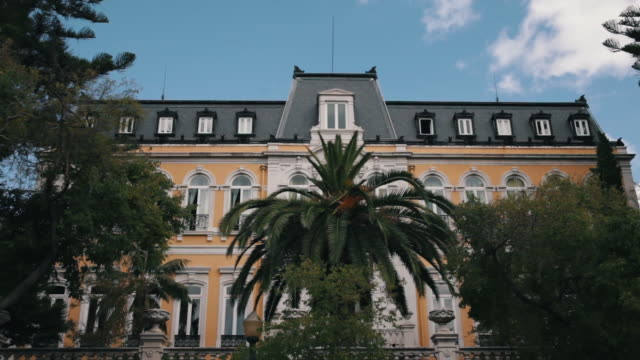 front shot on classical pestana palace - palácio stock-videos und b-roll-filmmaterial