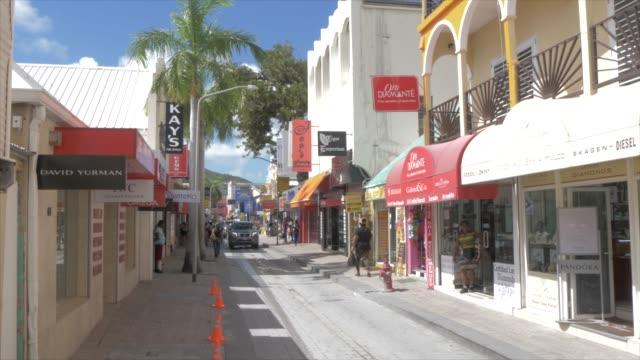 front street in philipsburg, philipsburg, st. maarten, dutch antilles, west indies, caribbean, central america - tropical tree stock videos & royalty-free footage