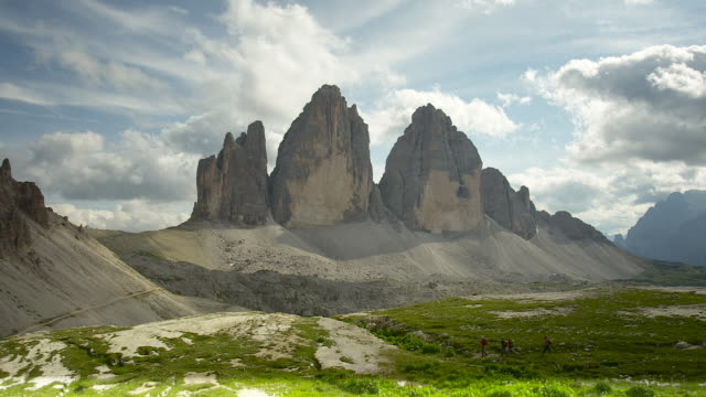 front view from the three peaks - tre cimo di lavaredo stock videos & royalty-free footage