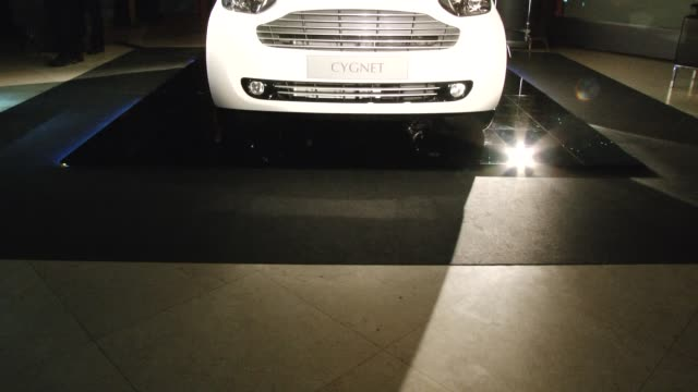 vídeos de stock e filmes b-roll de front view of aston martin cygnet aston martin cygnet launch on january 20 2011 in london england - visão frontal