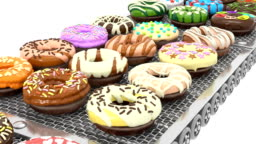 Front View of Loopable Colorful Doughnuts on Conveyor Belt (3d render)