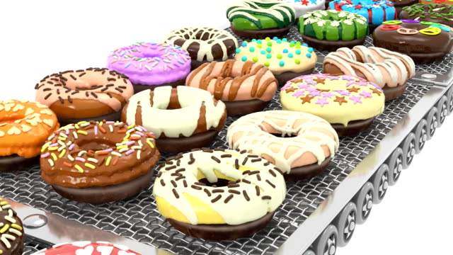 vídeos de stock e filmes b-roll de front view of loopable colorful doughnuts on conveyor belt (3d render) - diabetes