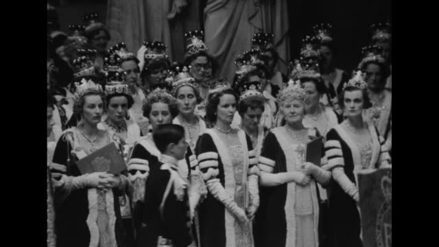 Front view peeresses wearing coronation costumes and crowns