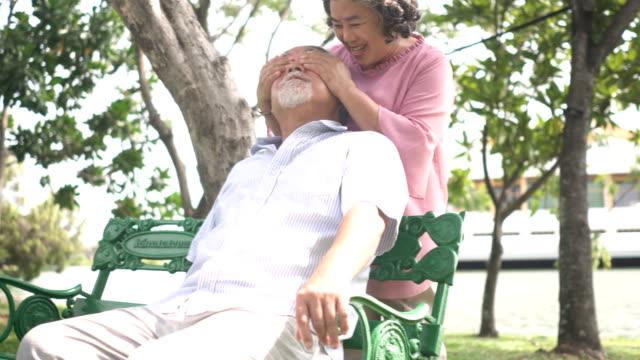 vidéos et rushes de vue de face: senior femme couvrant les yeux de son mari a surpris - se cacher