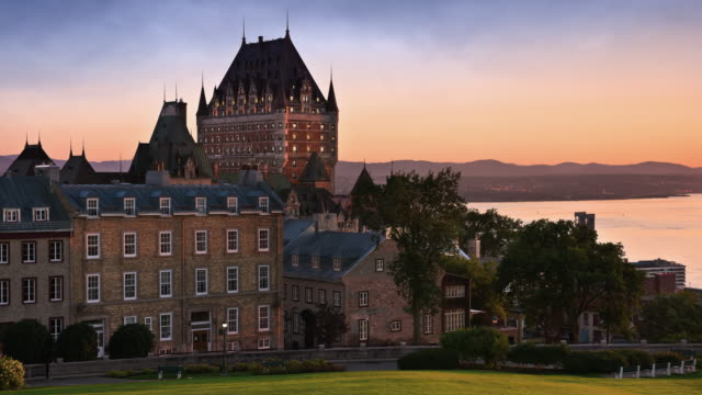 T/L Frontenac Castle in Old Quebec City and the St. Lawrence River at sunrise / Quebec City, Quebec, Canada