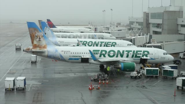 stockvideo's en b-roll-footage met frontier airlines airplanes at the gate at denver international airport in denver, colorado, u.s., on tuesday, april 4, 2017. shots: wide shot of... - dia