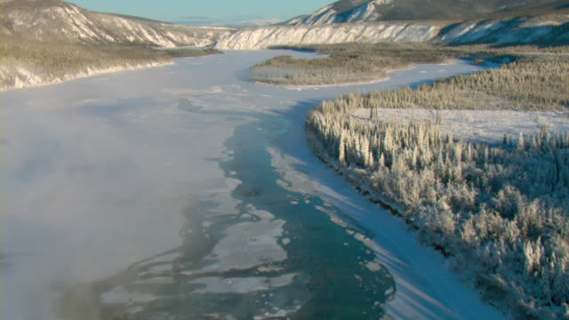 Frost covers the trees along the bank of the frozen Yukon River in Canada.