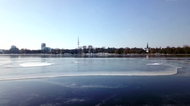 frozen alster lake aerial view - frozen stock videos and b-roll footage