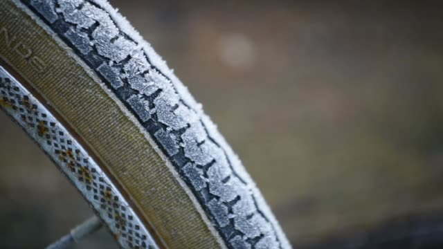 Frozen bicycle tire in Winter