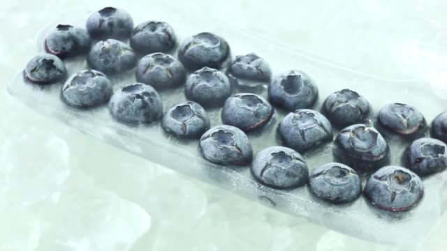 frozen blueberries in a row - cibi surgelati video stock e b–roll