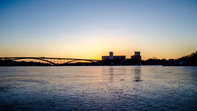 frozen lake hyperlapse - arch bridge stock videos & royalty-free footage
