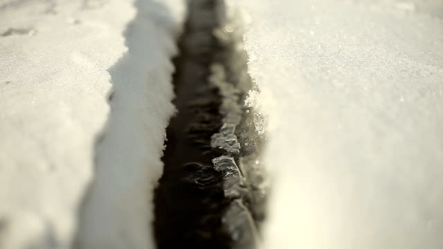 frozen lake surface cracking on sunny day - frozen water stock videos & royalty-free footage