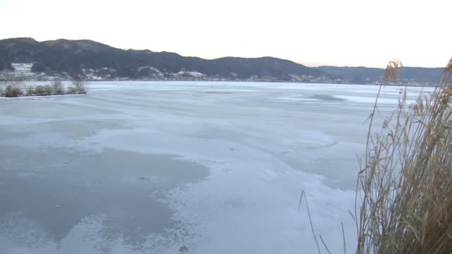 frozen lake suwa, nagano, japan - satoyama scenery stock videos & royalty-free footage