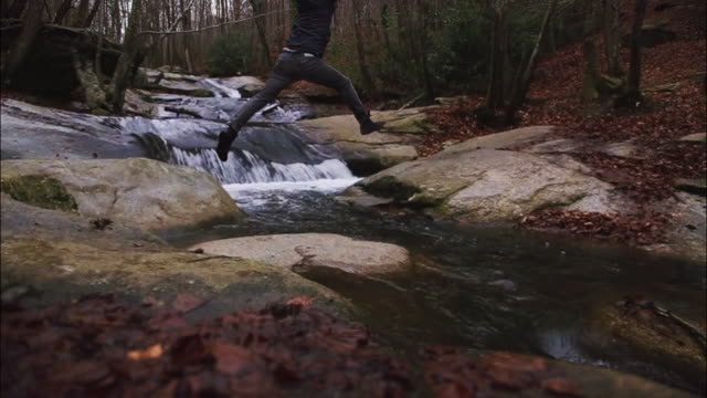 vidéos et rushes de frozen moment of a guy doing trekking and jumping the river with nice aesthetic jump while the river is flowing in the beautiful beech forest during autumn season. video technique of frozen picture mixed with video in motion. - torrent