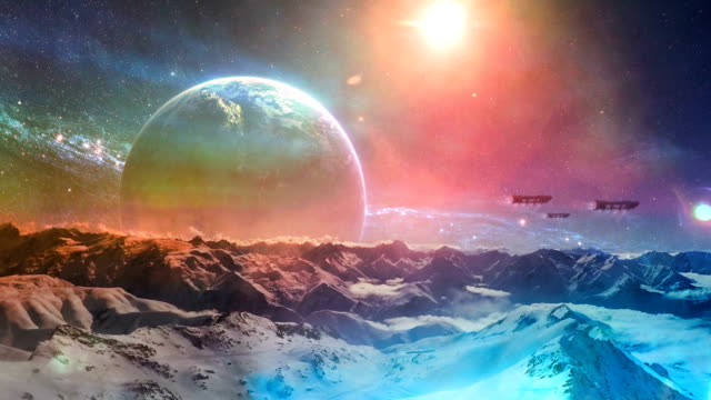 frozen planet. starships above planet surface - surrealism stock videos & royalty-free footage