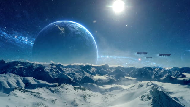 frozen planet. starships above planet surface - razzo spaziale video stock e b–roll