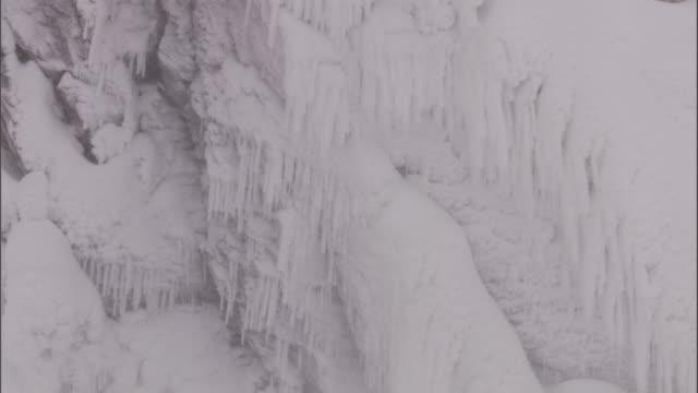 frozen waterfall, yellowstone, usa - frozen stock videos & royalty-free footage