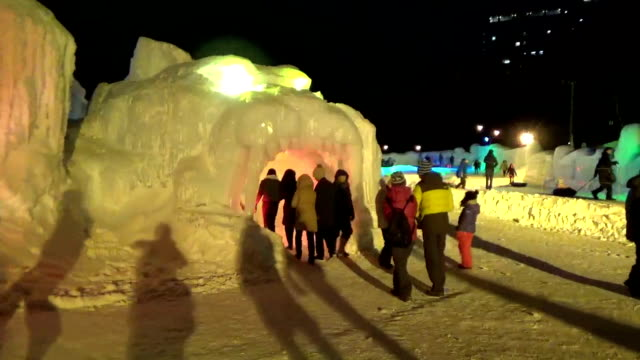 hokkaido japan – jan 23 frozen waterfalls in northern japan are lit up during the night for toursts especially from warmer parts of asia including... - kamikawa district ishikari stock videos and b-roll footage