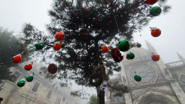 frozen winter with christmas tree decoration - hanging stock videos & royalty-free footage