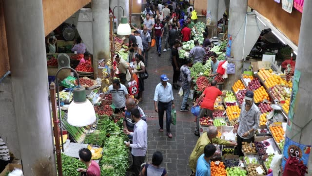 fruit and vegetable market in port louis - mauritius - bancarella video stock e b–roll
