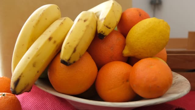 fruit bowl in the kitchen - fruit bowl stock videos & royalty-free footage