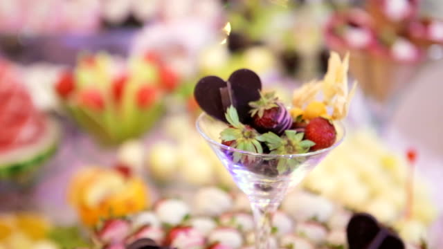 fruit dessert on the party - ornate stock videos & royalty-free footage