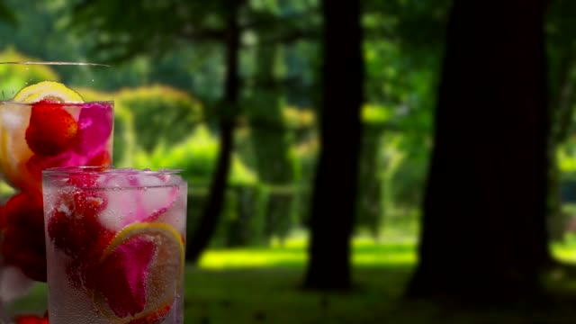 Fruit drinks on the tropical park background