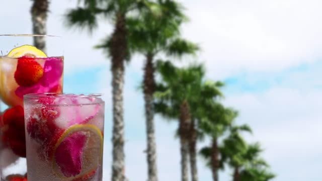 Fruit drinks under the palm trees