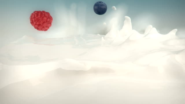 fruit falling into milk side view - yoghurt stock videos and b-roll footage