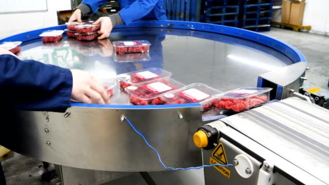 vídeos y material grabado en eventos de stock de los trabajadores de las granjas de frutas clasifican y empaquetan fresas cosechadas en la planta agrícola moderna - embalaje