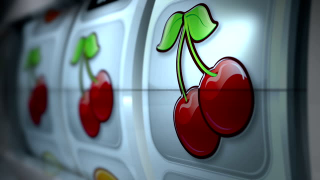 vídeos de stock e filmes b-roll de fruit machine: close up: cherries win - jogos de azar