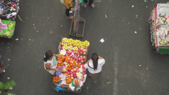 Fruit market stall directly above at Divisoria street market at Manila, Philippines