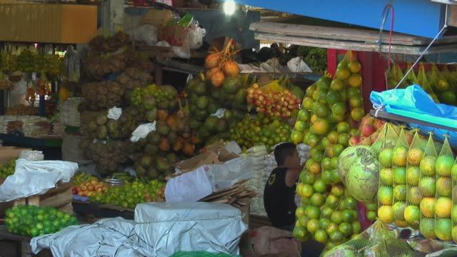 slo mo ms fruit market stall / tefe, amazonas, brazil - one teenage boy only stock videos & royalty-free footage
