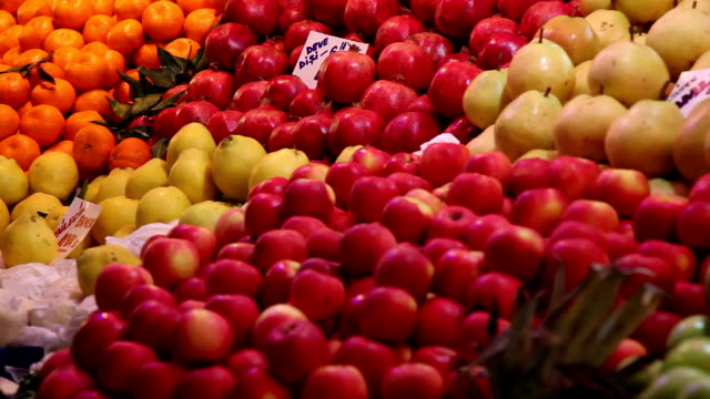 fruit market - apple fruit stock videos and b-roll footage