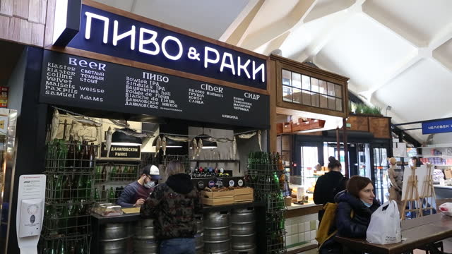 fruit, meat, bread and caviar on stalls at danilovsky market in moscow, russia, on wednesday, march 24, 2021. in russia, food prices in particular... - raw food stock videos & royalty-free footage