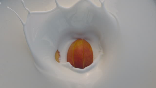 fruit peach falling down into white liquid with splashes - slice stock videos and b-roll footage