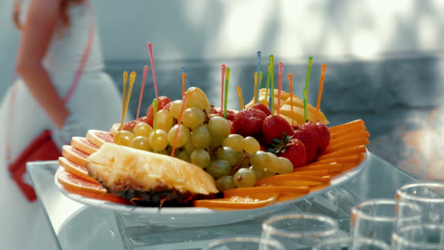 fruit plate from formal reception table - formal reception stock videos and b-roll footage
