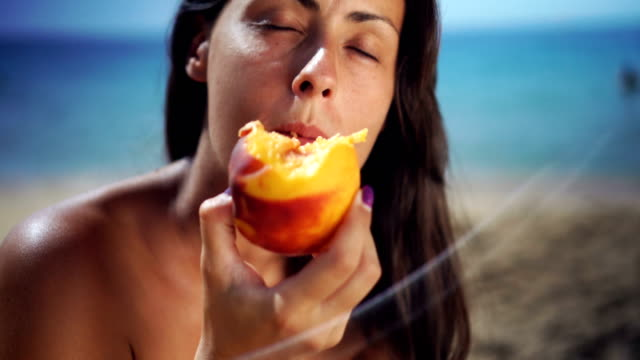 fruit refreshment in hot summer day - peach stock videos & royalty-free footage